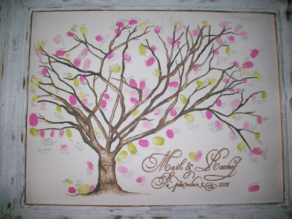 Small Cherry Blossom Thumbprint Tree - Gallery Wrap Canvas Up to 150 guests: 16'' x 20''