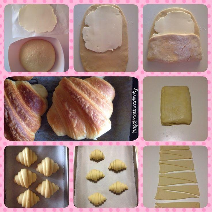Brioche!!! Favolose!! La colazione perfetta per la domenica!! Il piacere di una coccola con tutta la famiglia!! E soprattutto ...la soddisfazione personale di averle preparate!!!! ^_^ Ricetta del croissant sfogliato di L. Montersino (Peccati di gola) Per 14 croissant: Per il lievitino: 57 g di acqua…