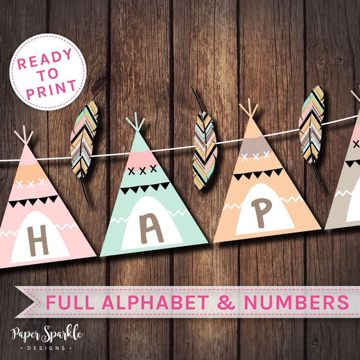 Teepee banner now available... Instant download. Print yourself, trim and hang