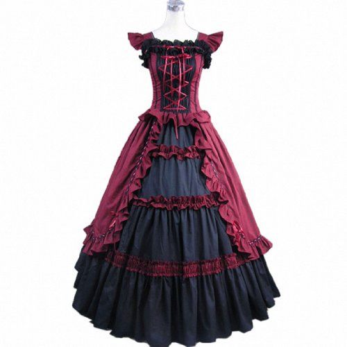 3Colors Shortsleeve Ruffles Masquerade Gown Evening Prom Gothic Lolita Dress WineRed,Large Fancy Dress Store