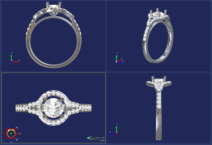 Platinum wed fit halo cluster ring with tapered shoulders, centre 4 claw set with 1 round brilliant cut diamond, 0.50ct, H colour, VS2 clarity, surrounded by 36 round brilliant cut diamonds, approx 0.38ct total, merging onto shoulders with central millegrain detail, claw set.  Hallmarked, including Chichester Cross mark. CAD by Chris Fisher    #CAD #timothyroe #3design #diamondring