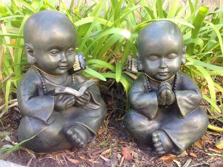 1 Pair Boy Meditating Monks Garden Ornaments- 24cm each #monk #garden #ornament