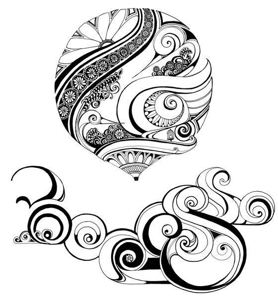 Created by Tony Hong - love the swirls! | Zentangle | Pinterest