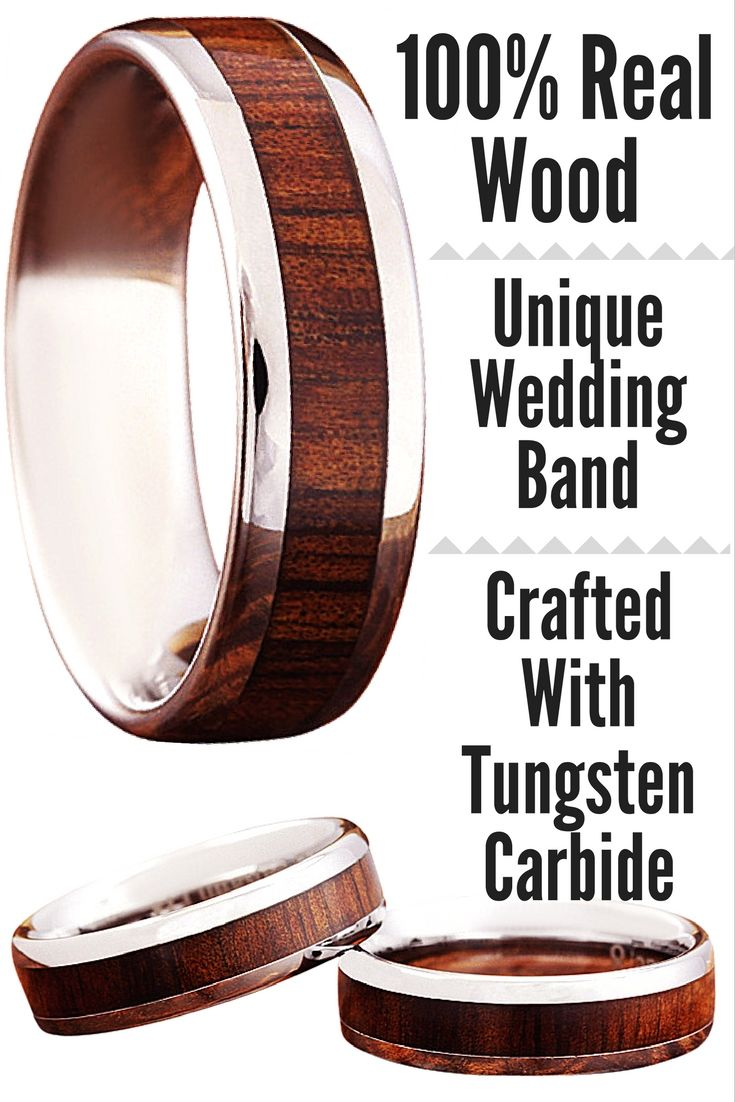 Wood Wedding Band crafted out of tungsten carbide and real koa wood. Extremely durable and waterproof. I love this mens wood wedding ring. Comes in widths 6mm and 8mm.
