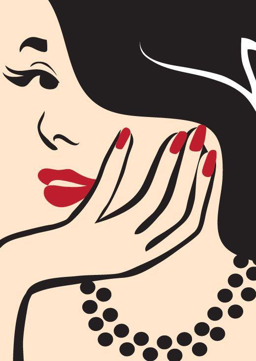#elegant #minimal #manicure #redlips #shanashay vector illustration by www.shanashay.com