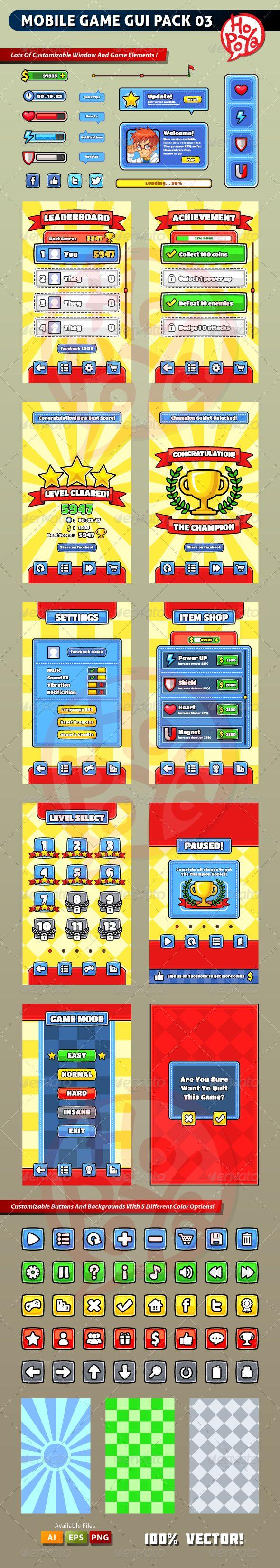 Mobile Game GUI Pack 03 - Web Elements Vectors