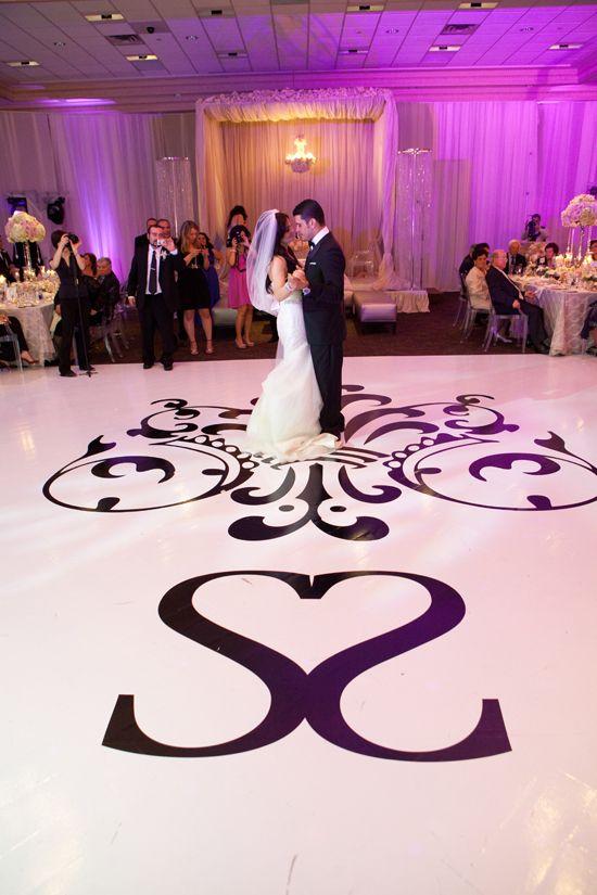 White dance floor with monogram blackandwhite dancing wedding