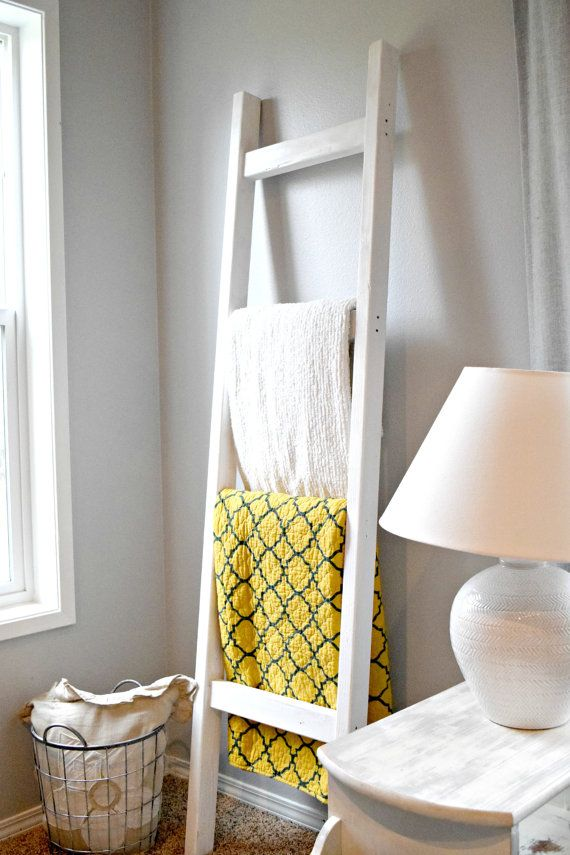 Blanket Ladder  Wood Quilt Ladder  White Blanket door AldarLane