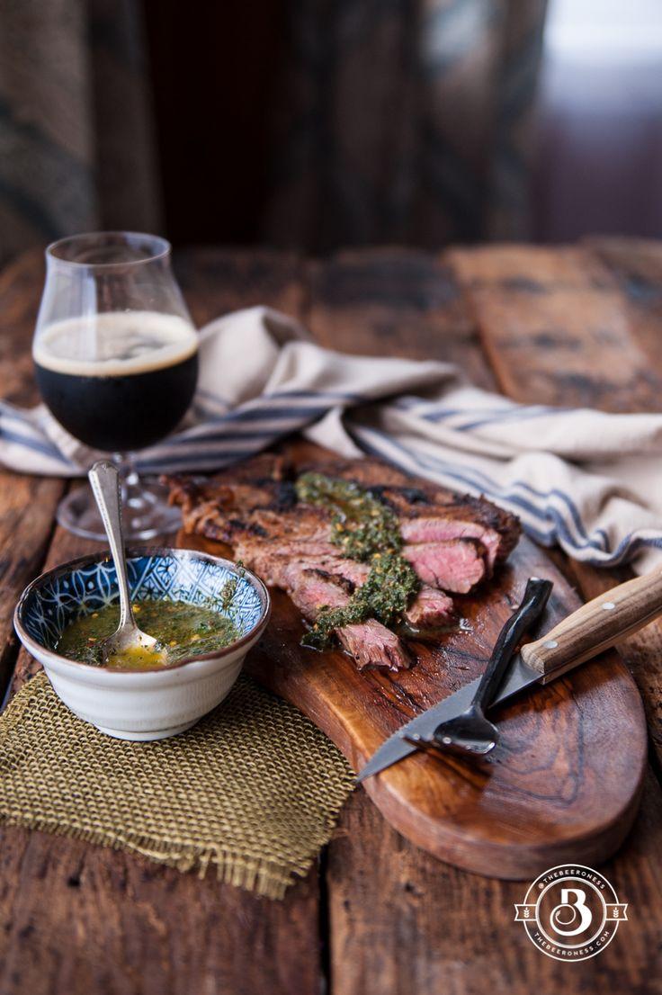 Beer Brined Pan Seared Flank Steak with Sage Chimichurri