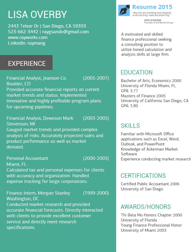 19 best Resume 2015 images on Pinterest Sample resume, Best - color specialist sample resume