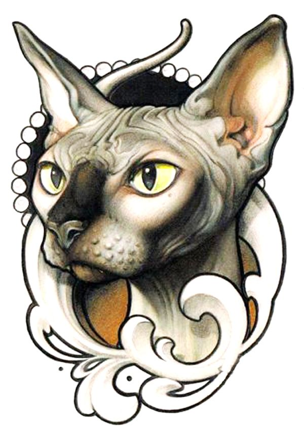 Beautiful tattoo flash of victorian cat. Love the design with goose face in it and his weird crooked tail in the background