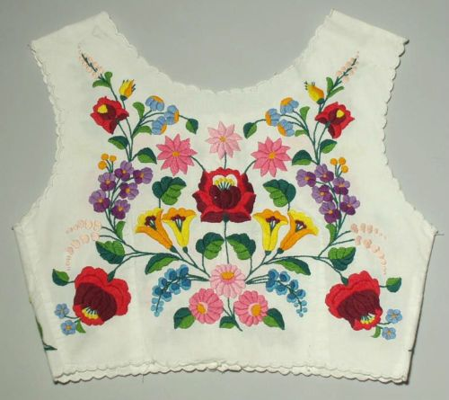 HUNGARIAN Ethnic Folk Costume Vest embroidered peasant bodice top Kalocsa Matyo