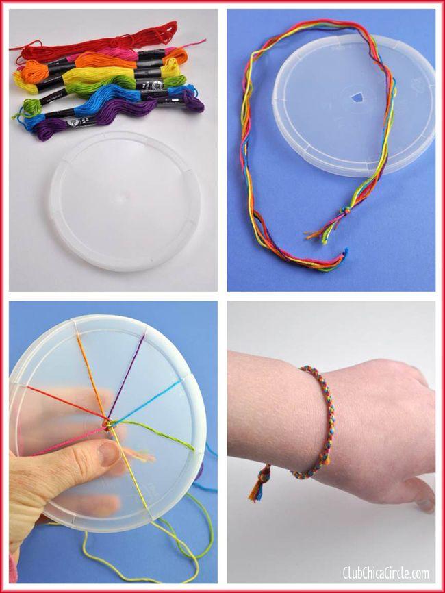 Rainbow friendship bracelet with homemade weaving wheel  on Tween Craft ideas club.chicacircle.com