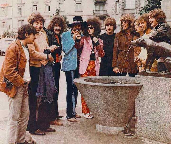 1968 at the Hotel Stoller in Zurich, Switzerland -  Eric Burdon, Stu Leathwood, Keith Ellis, Roy Wood, Jimi Hendrix, Noel Redding, Carl Wayne, John Mayall, Steve Winwood, and Treavor Burtin.