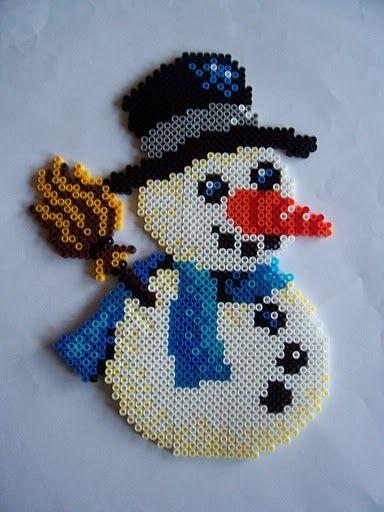 Snowman hama perler beads