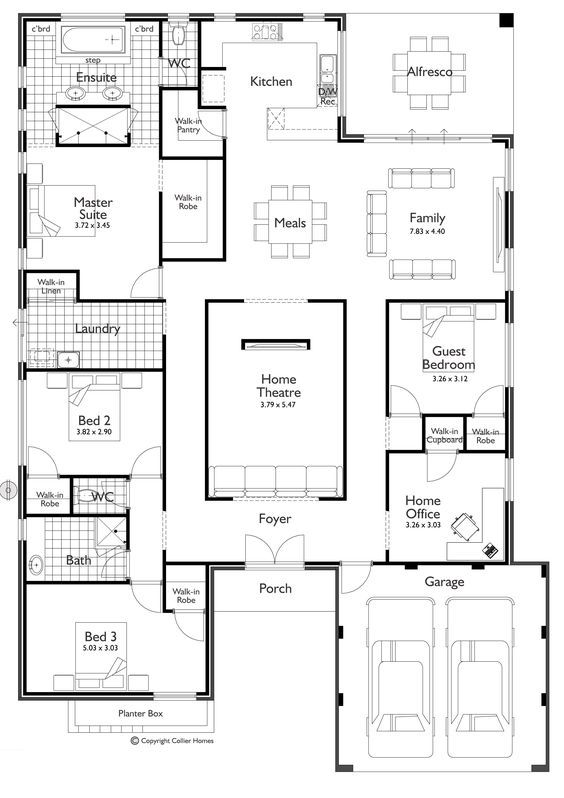 This one is a little different – you might like this one! I love the theatre in the middle of the house – no windows! So it would be awesome if you love your movies. Click on the plan to see it larger. I also like the master on the back and the kitchen looking over the yard. On a lot of plans the kitchen is normally on the side. This would be great if you had a cool pool area or entertaining area. Plus, I think over the sink there is a window/serving area on to the alfresco....