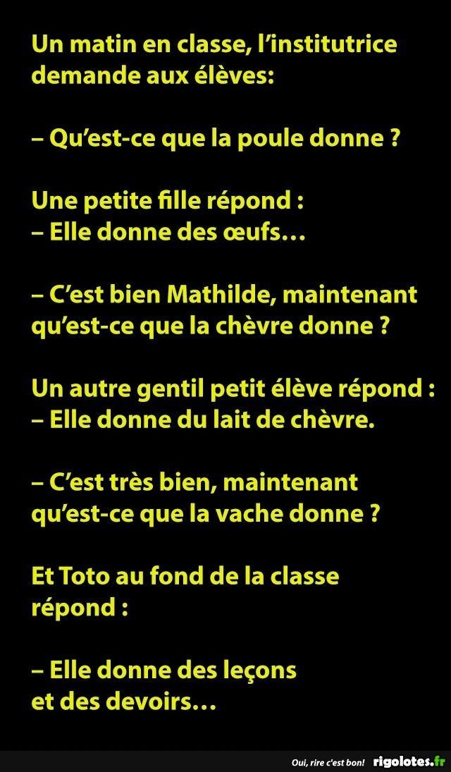 Un matin en classe, l'institutrice demande aux élèves... - RIGOLOTES.fr