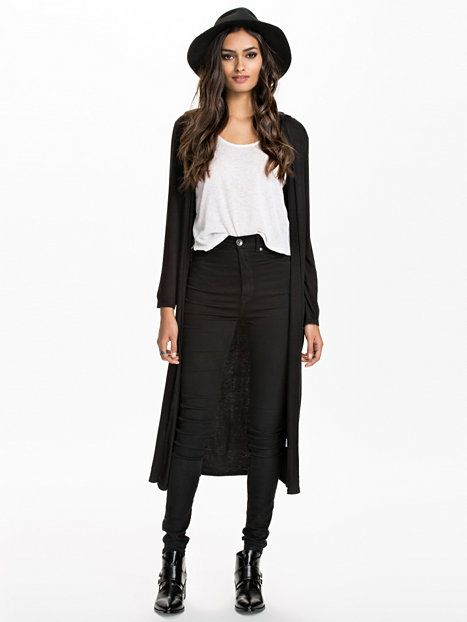 L/S Hooded Long Kimono - Club L Essentials - Svart - Gensere - Klær - Kvinne - Nelly.com