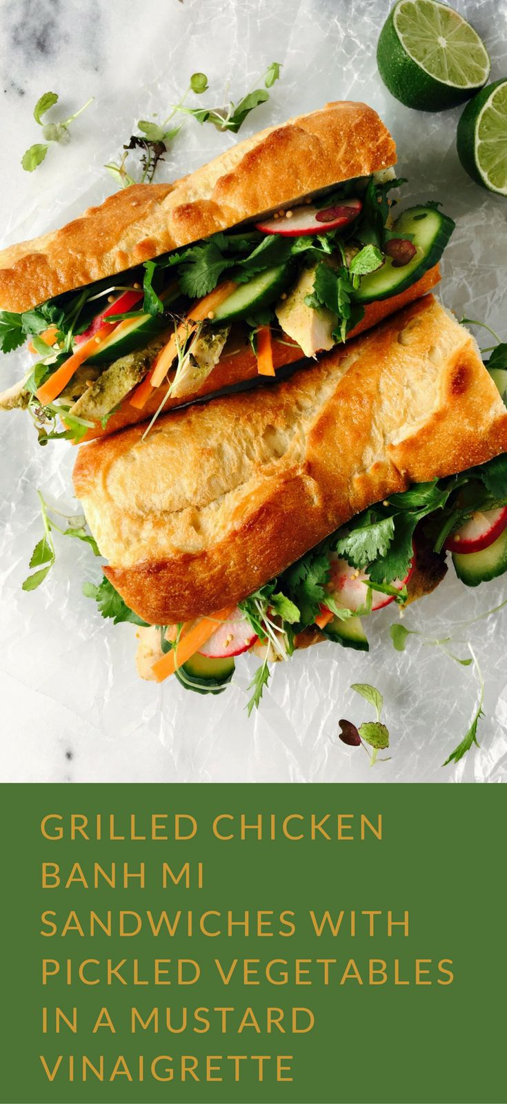 Grilled Chicken Banh Mi Sandwiches with Pickled Vegetables in a Mustard Vinaigrette | #MyMustard