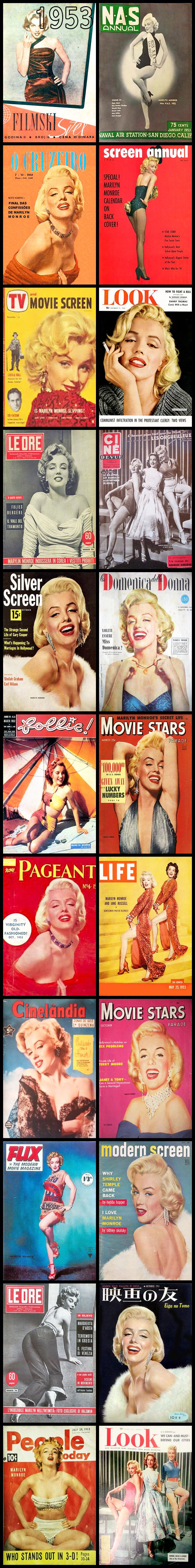1953, Marilyn Monroe, Magazine, Covers, Collection, Montage, Celebration