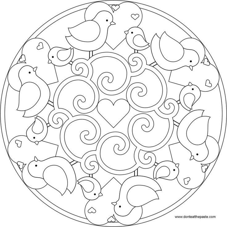 Bird Mandala. Mandala. Mandala para pintar pjaros y corazones. Mandala for painting