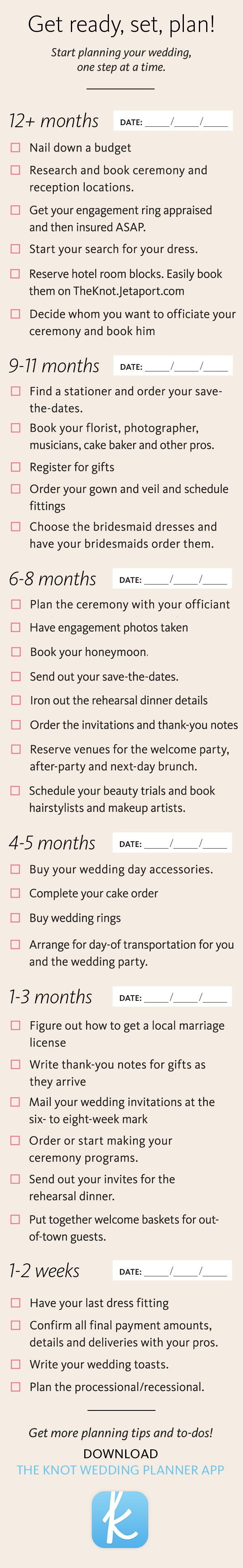 Wedding planning can be a headache, but staying organized is key! Let us help -- print out this list and make sure you're on your way to the perfect day!