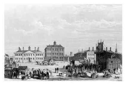 'Before st Georges Hall.The 1st Liverpool Infirmary and Alms Houses.'St Johns Church, St Johns Gardens  on the right on this one