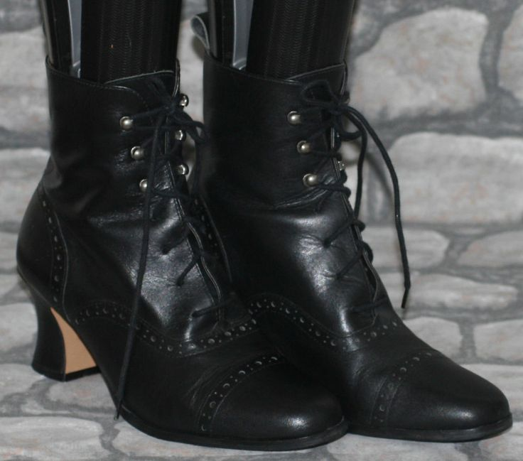 Black Leather Victorian Steampunk Witch Goth Lace Up