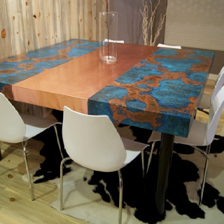Copper table, as featured on HGTV House Crashers. Used resin to seal top. LOVE