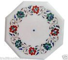 1'x1' White Marble Decorative Mosaic Coffee Table Floral Inlay Marquetry Decor