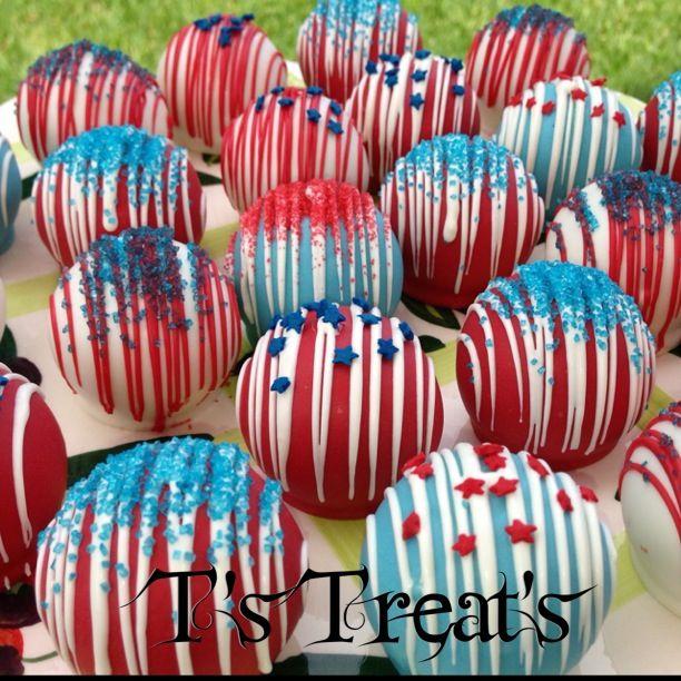 Red White Blue Cake Balls