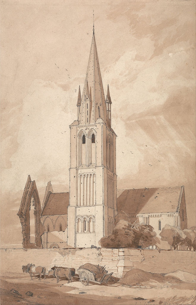 1820  Douvres Church, Normandy graphite and wash