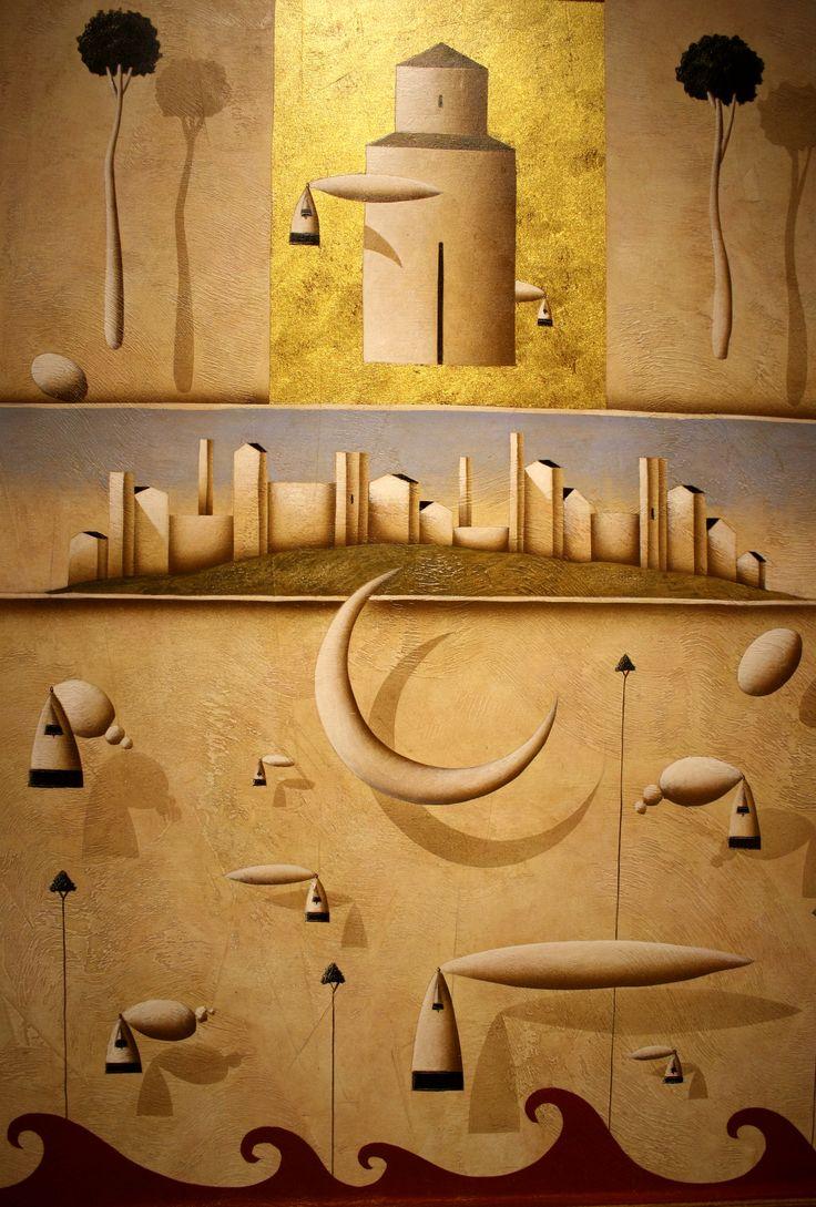 """""""Oltre le più rosee previsioni"""" - tec.mista su tavola, 50 x 70cm, 2012 (Artist: Carlo Mirabasso)"""