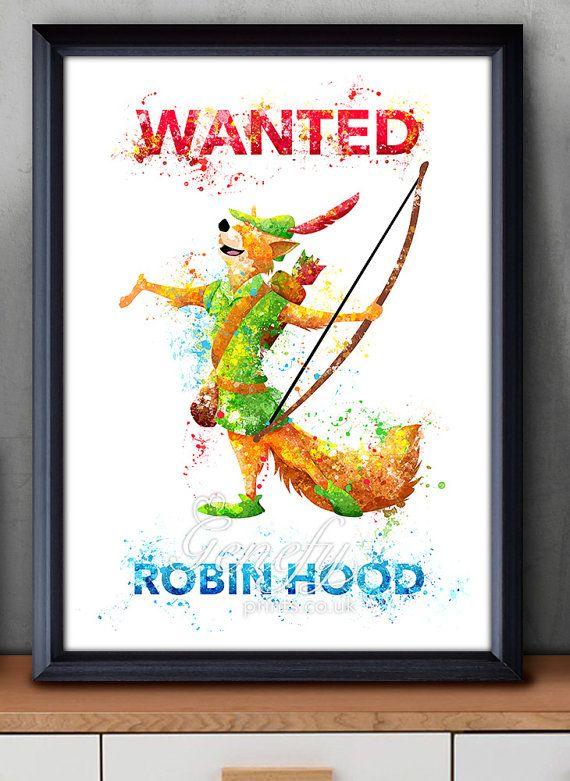 Disney Robin Hood Watercolor Poster Print Wall by GenefyPrints