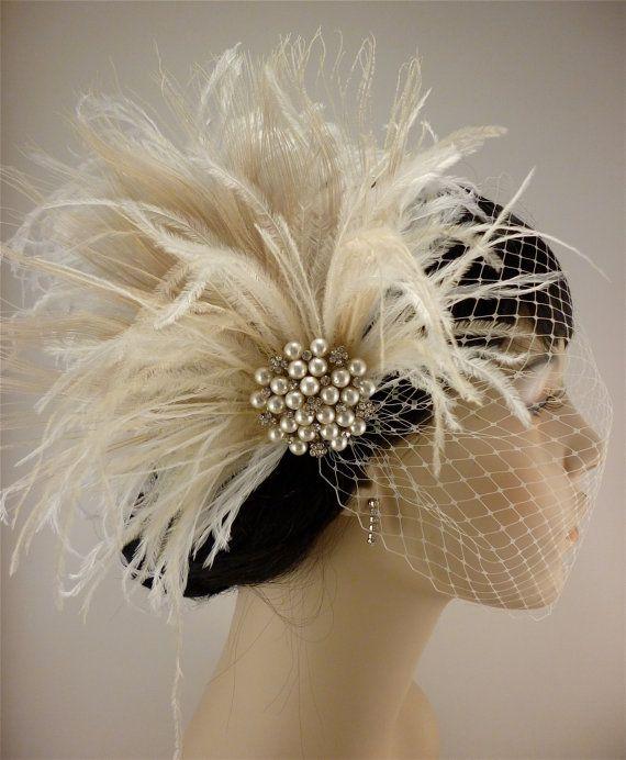 Rhinestone Pearl Bridal Feather Fascinator, Ivory Feather Fascinator, Bridal Headpiece, Wedding Veil,  Old Hollywood