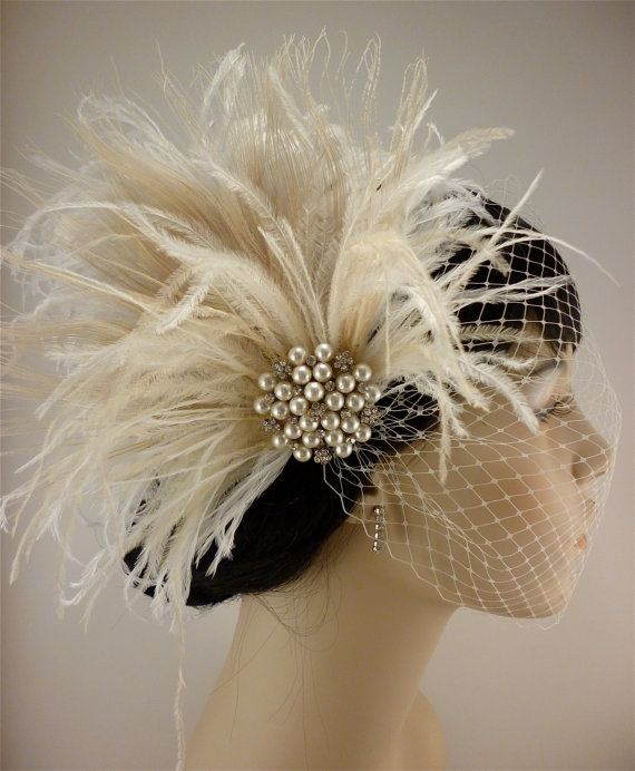 Rhinestone Pearl Bridal Feather Fascinator, Ivory Feather Fascinator, Bridal Headpiece, Wedding Veil,  Old Hollywood