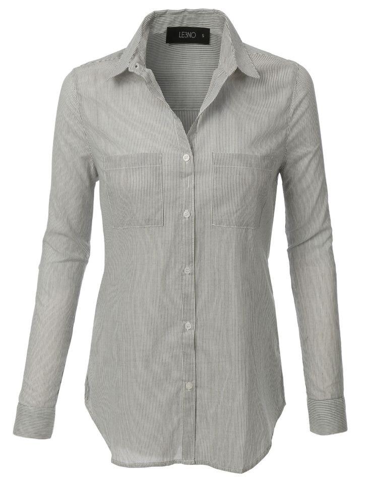 LE3NO Womens Button Down Long Sleeve Striped Shirt