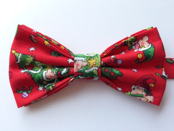 Christmas Bow Tie Holiday Bow Tie Elf Bow Tie by WatfordTies