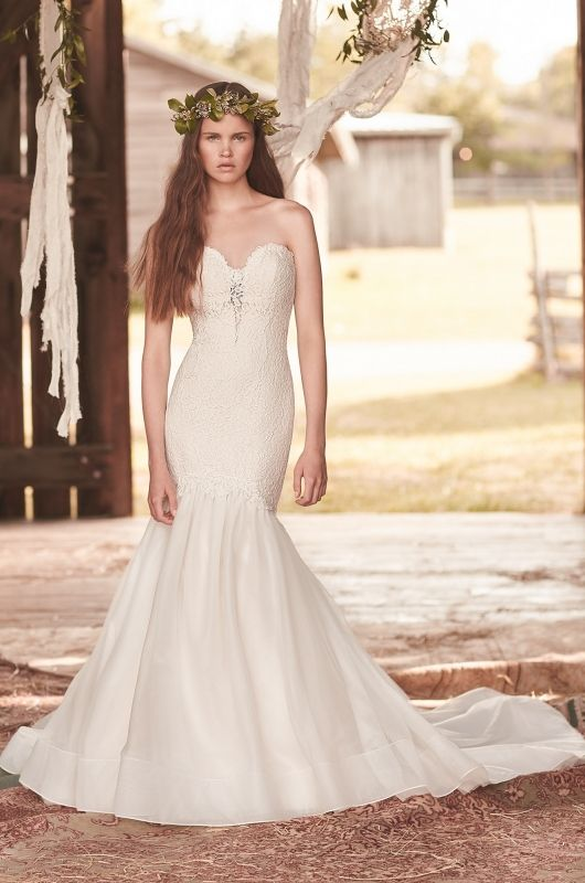 View Mermaid Tulle Skirt Wedding Dress Style From Mikaella Bridal Strapless Lace Tunic Bodice With Plunging Neckline