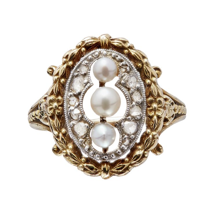 A FRENCH 19TH CENTURY PEARL AND DIAMOND SET