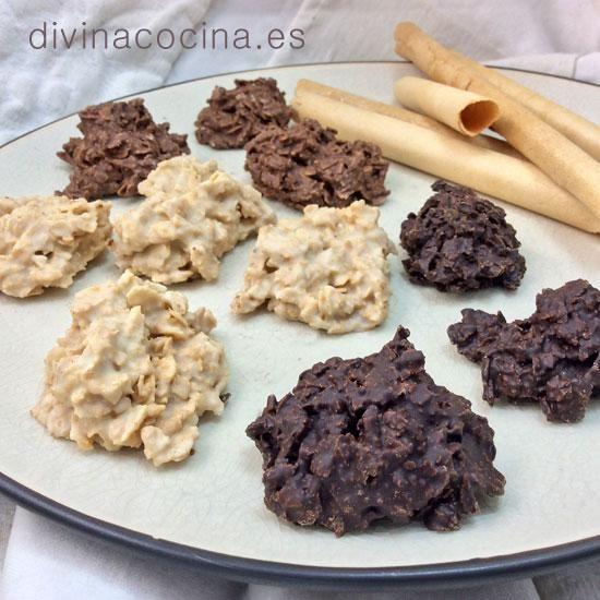 Para hacer estas rocas de barquillos o galletas necesitarás un chocolate de tableta a tu gusto (negro, blanco, con leche) y barquillos de canela. Con los barquillos las rocas quedan crujientes y muy aromáticas, pero si no tienes puedes usar unas galletas que te gusten.