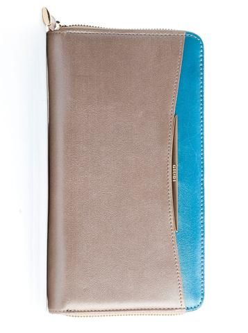 pearlized suede leather wallet in taupe and turquoise. 100% Made in Italy from vegetable dyed leather.