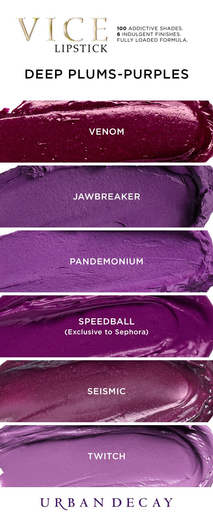 These shades of purple are pure perfection. Try these and all 100 shades of Vice Lipstick now at urbandecay.com. #LipstickIsMyVice