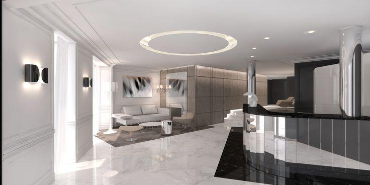 Actuellement en rénovation l'hôtel Trinité Haussmann rouvrira bientôt ses portes. Maquette de notre futur lobby