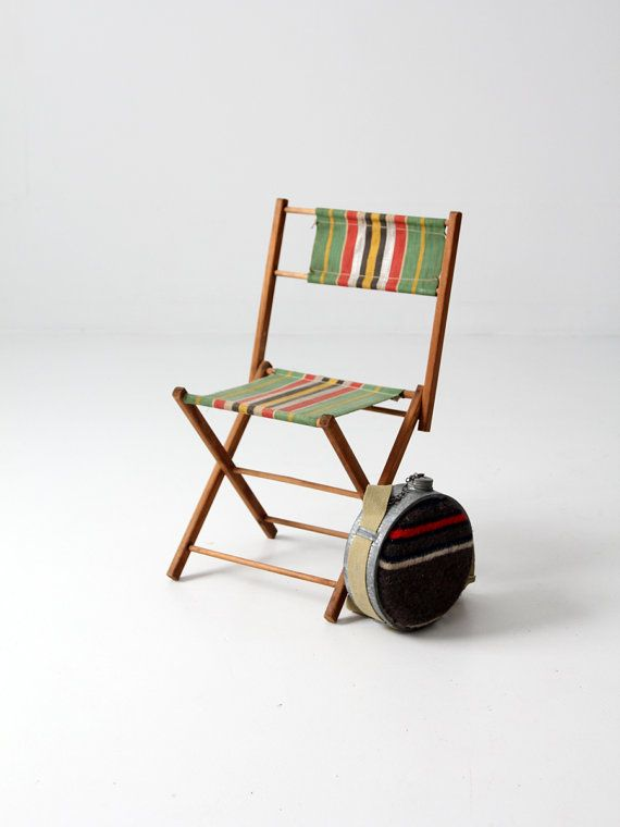 FREE SHIP Vintage Kids Camp Chair / Canvas Stripe By 86home, $165.00