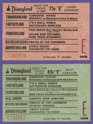 Vintage Disneyland E Tickets. Kids today will never know the disappointment of running out of this precious commodity.