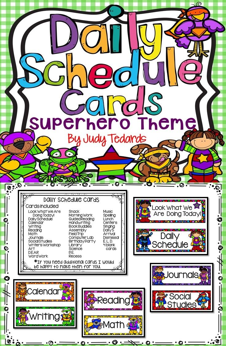 Daily schedule cards superhero theme daily schedule