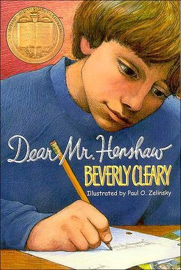 Dear Mr. Henshaw by Beverly Cleary. This would be a good book for fourth or fifth graders. After reading the book it would be cool to have the students chose an author to send a letter of their own to.