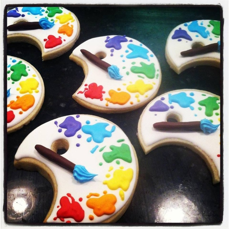 Decorated artist palette decorated sugar cookies
