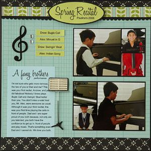 For this scrapbook page about her sons' music recital, Leah included photos of both boys with their instruments and paired classic patterns with music-theme embellishments for a clean, timeless look.